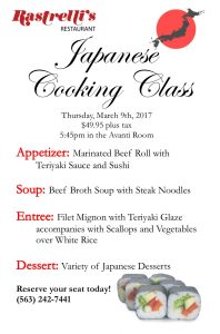 March Japanese Cooking Class Single