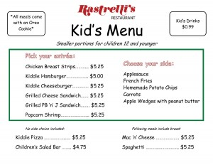 Kids Menu May 2016